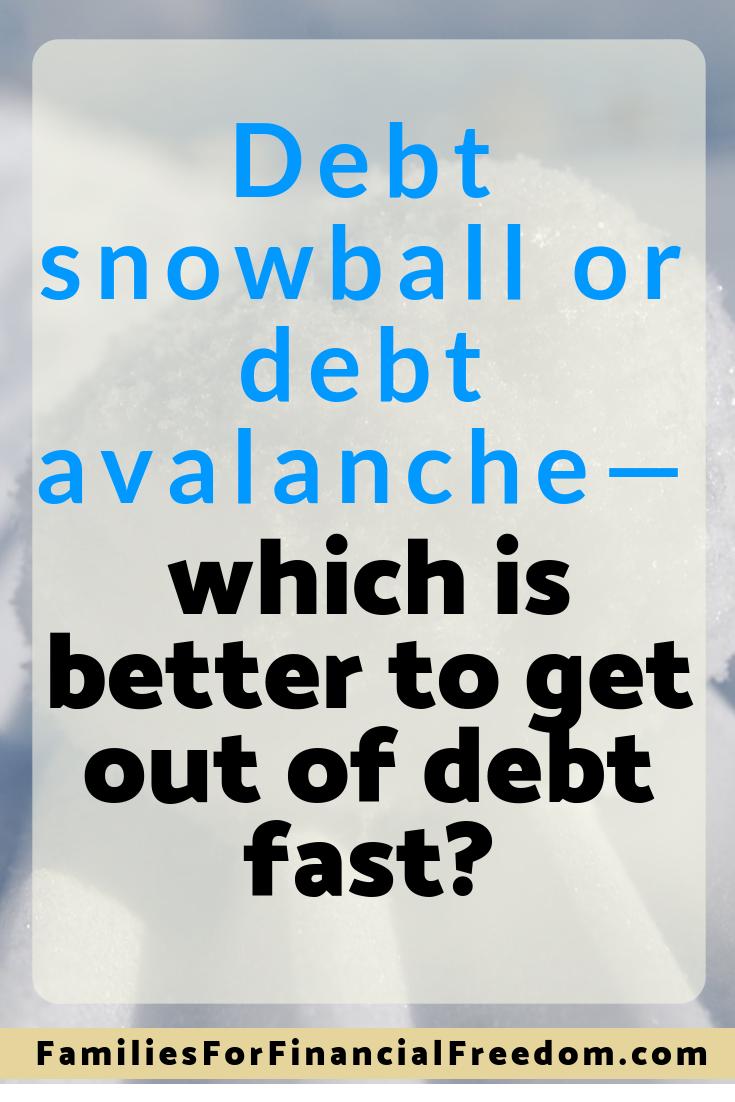 debt snowball versus debt avalanche debt payoff method