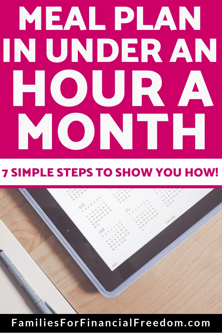 how to meal plan in an hour a month