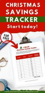 free Christmas Savings Tracker printables